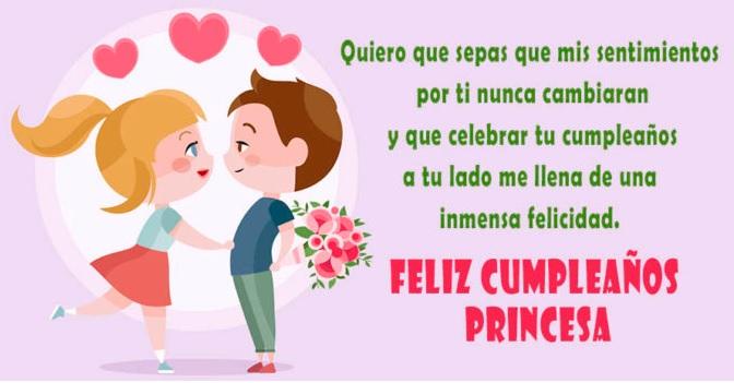 tarjetas de feliz cumpleaños para una enamorada- princesa